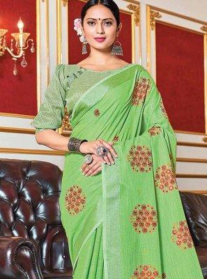 Linen Woven Green Trendy Saree