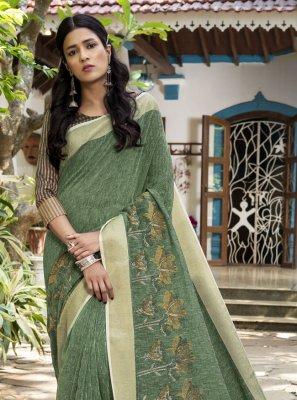 Linen Woven Sea Green Designer Traditional Saree