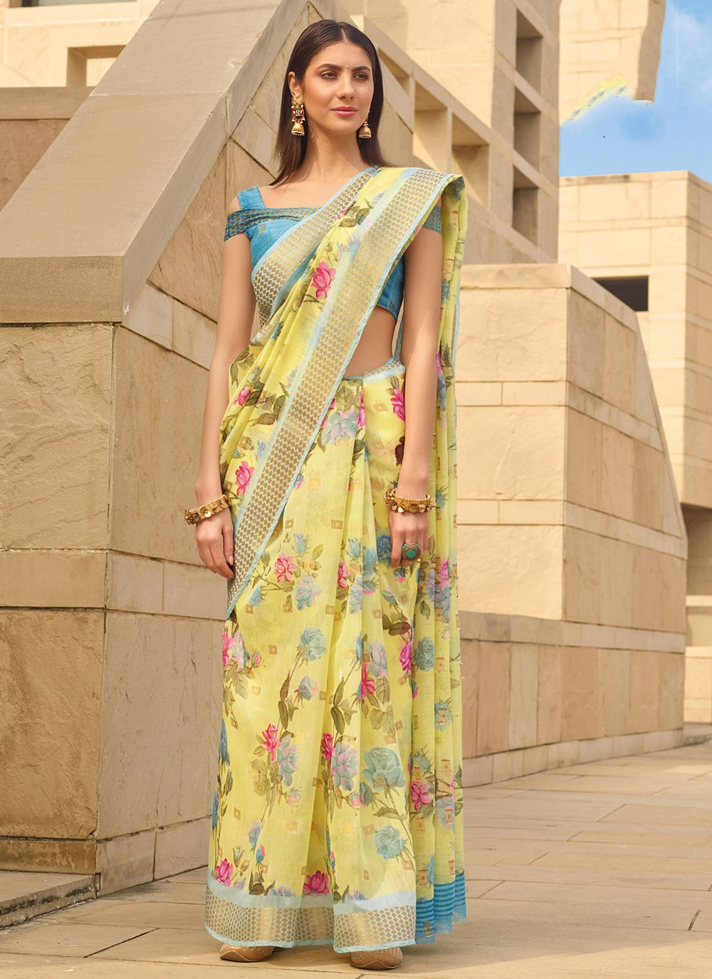 Linen Yellow Printed Printed Saree