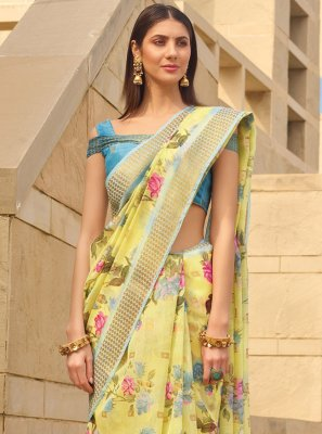 Linen Yellow Printed Printed Saree