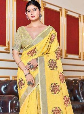 Linen Yellow Trendy Saree