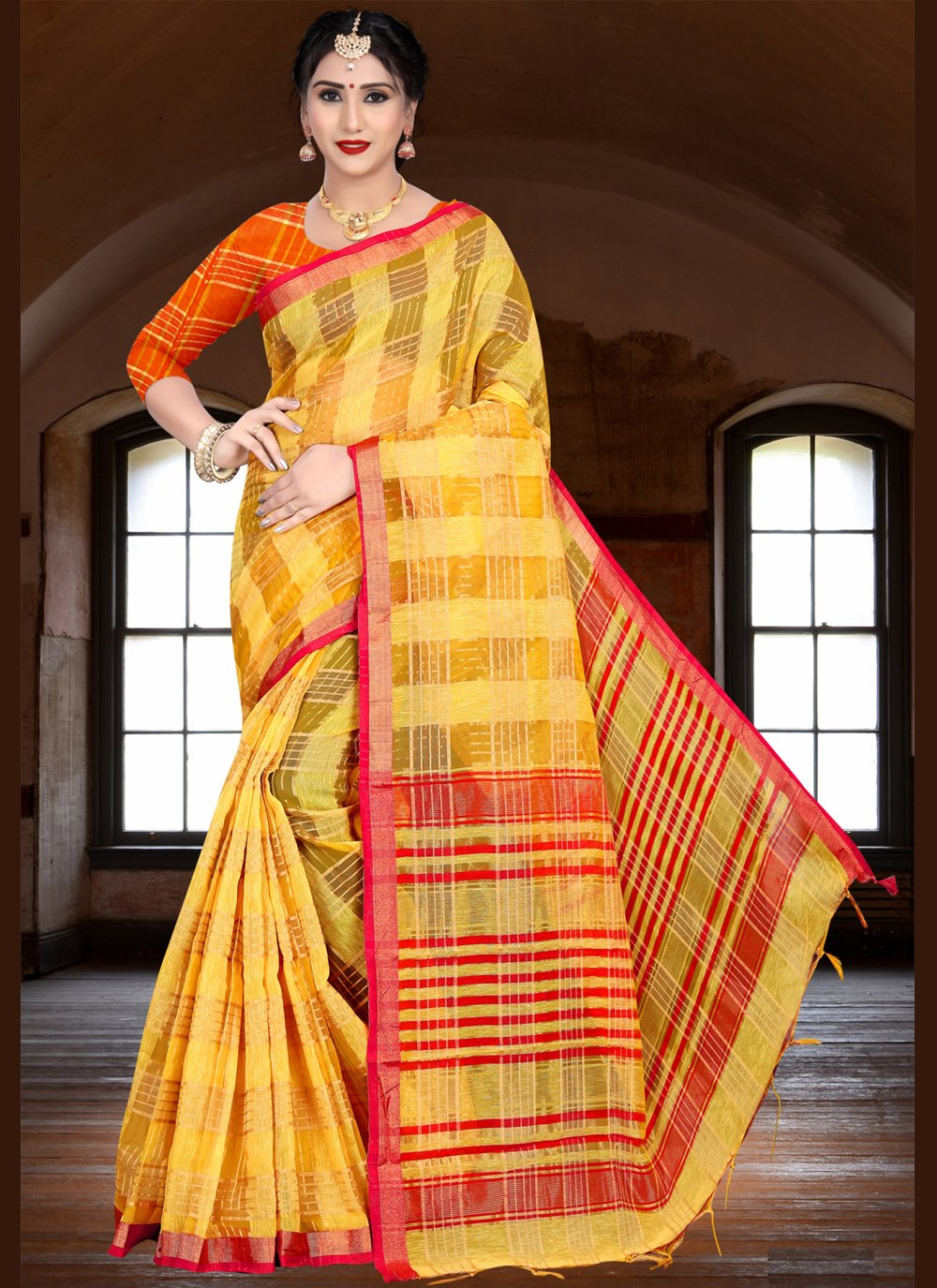 Linen Yellow Woven Trendy Saree