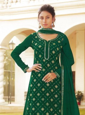 Long Choli Lehenga Embroidered Faux Chiffon in Green