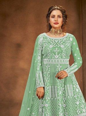 Long Choli Lehenga Embroidered Net in Green