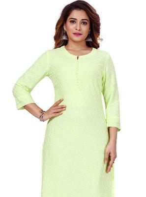 Lucknowi work Green Party Wear Kurti