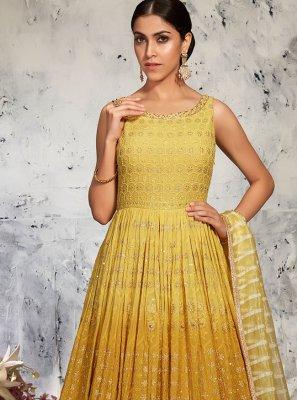 Lucknowi Yellow Fancy Floor Length Anarkali Suit