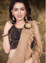 Lycra Beige Trendy Saree