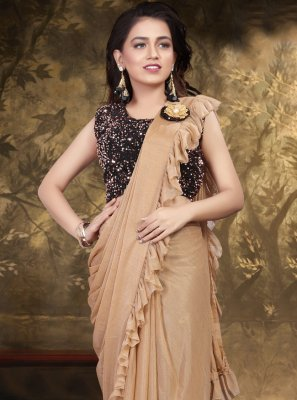 Lycra Beige Trendy Saree