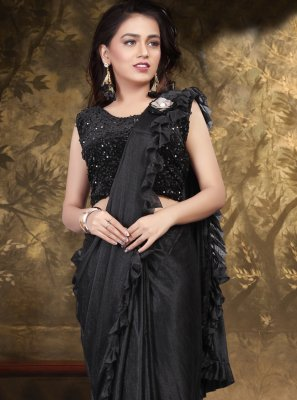 Lycra Black Sequins Classic Saree