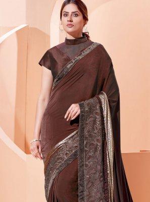 Lycra Brown Traditional Designer Saree