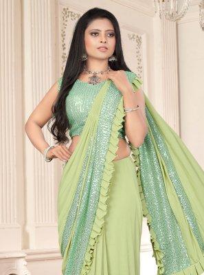 Lycra Classic Designer Saree in Green