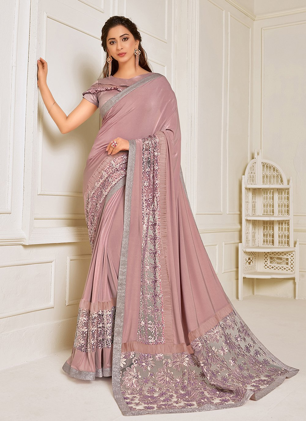 Lycra Embroidered Trendy Saree in Pink