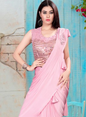 Lycra Handwork Classic Saree in Pink