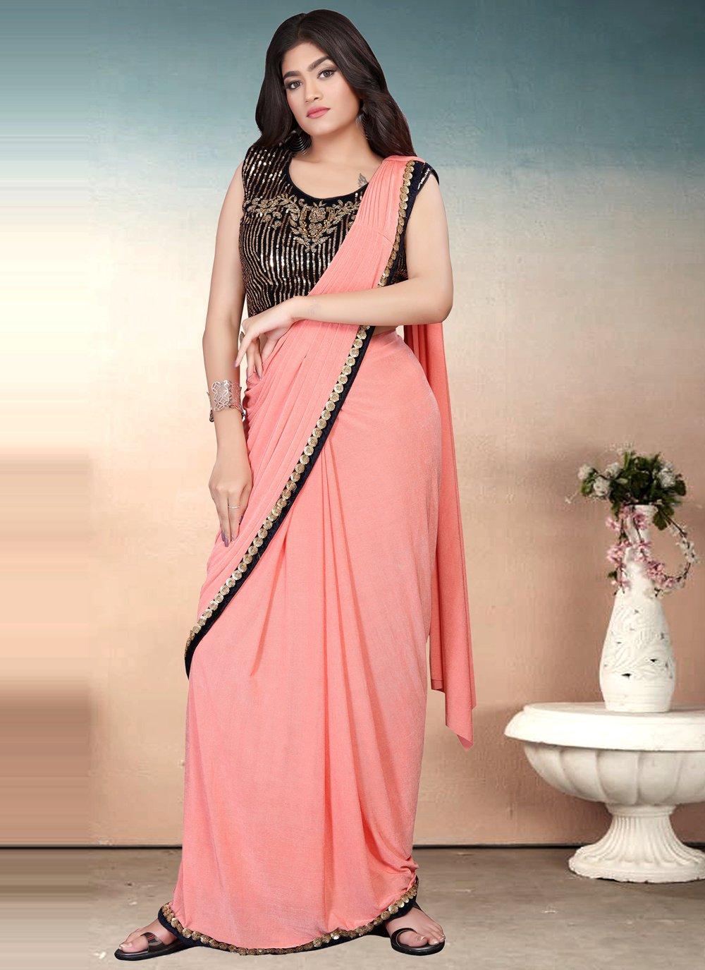 Lycra Peach Sequins Classic Designer Saree