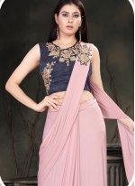 Lycra Pink Designer Traditional Saree