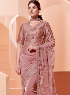 Lycra Pink Embroidered Trendy Saree