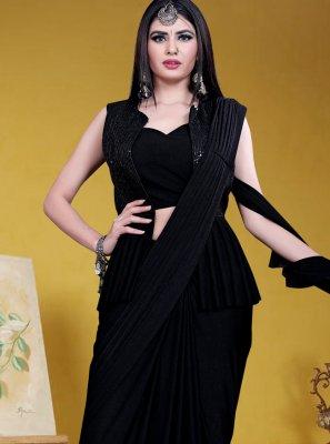 Lycra Sequins Black Designer Saree