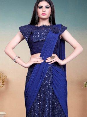 Lycra Sequins Blue Designer Saree
