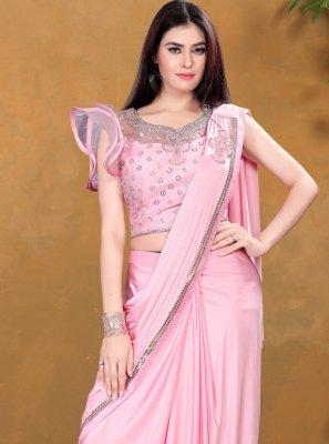 Lycra Sequins Pink Classic Designer Saree