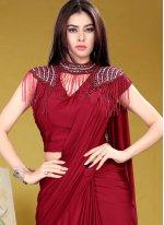 Lycra Sequins Red Classic Designer Saree