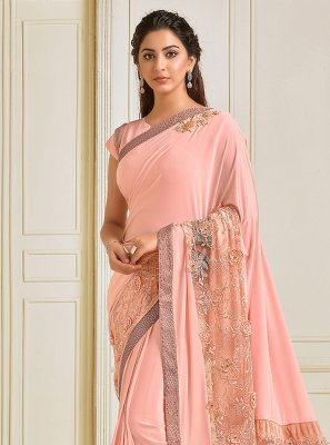 Lycra Sequins Trendy Saree in Pink