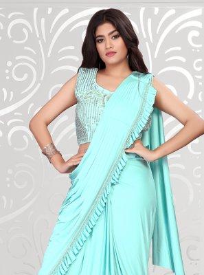 Lycra Trendy Saree in Turquoise
