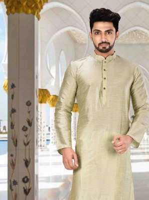 Machine Embroidery  Art Dupion Silk Kurta Pyjama in Green