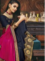 Magenta and Navy Blue Embroidered Silk Designer Half N Half Saree