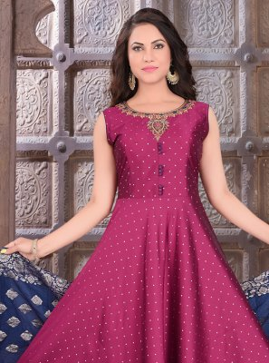 Magenta Art Silk Fancy Readymade Suit