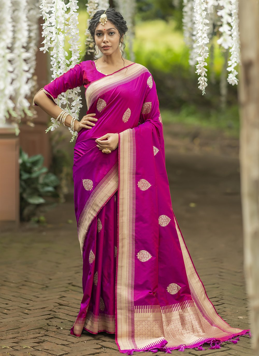 Magenta Banarasi Silk Mehndi Traditional Saree
