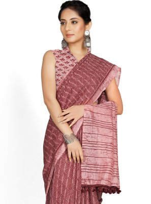 Magenta Blended Cotton Casual Saree
