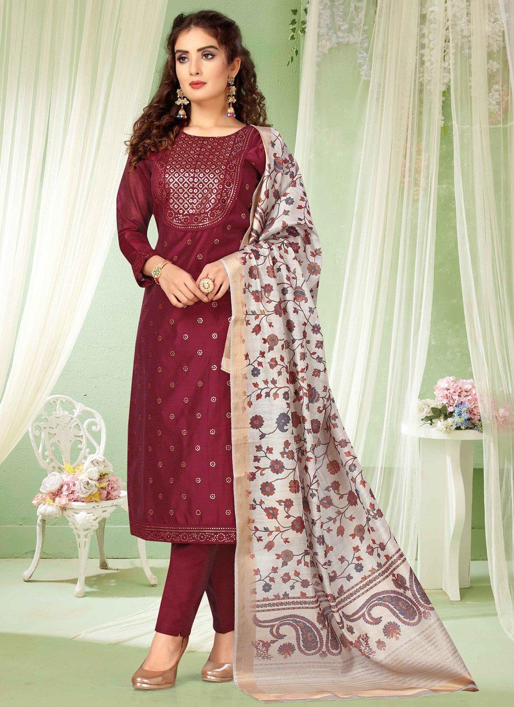 Magenta Chanderi Embroidered Bollywood Salwar Kameez