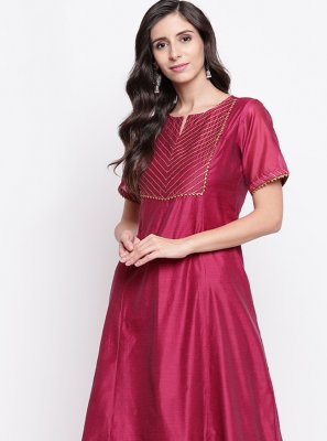 Magenta Chanderi Party Wear Kurti