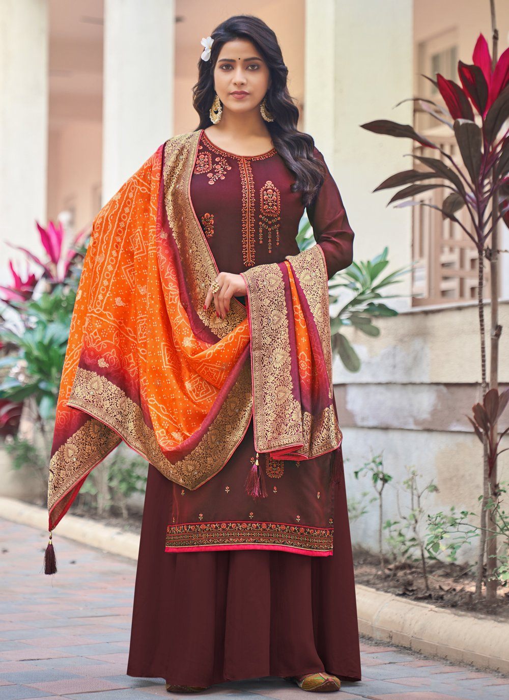 Magenta Color Designer Palazzo Suit