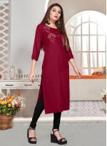 Magenta Embroidered Party Wear Kurti