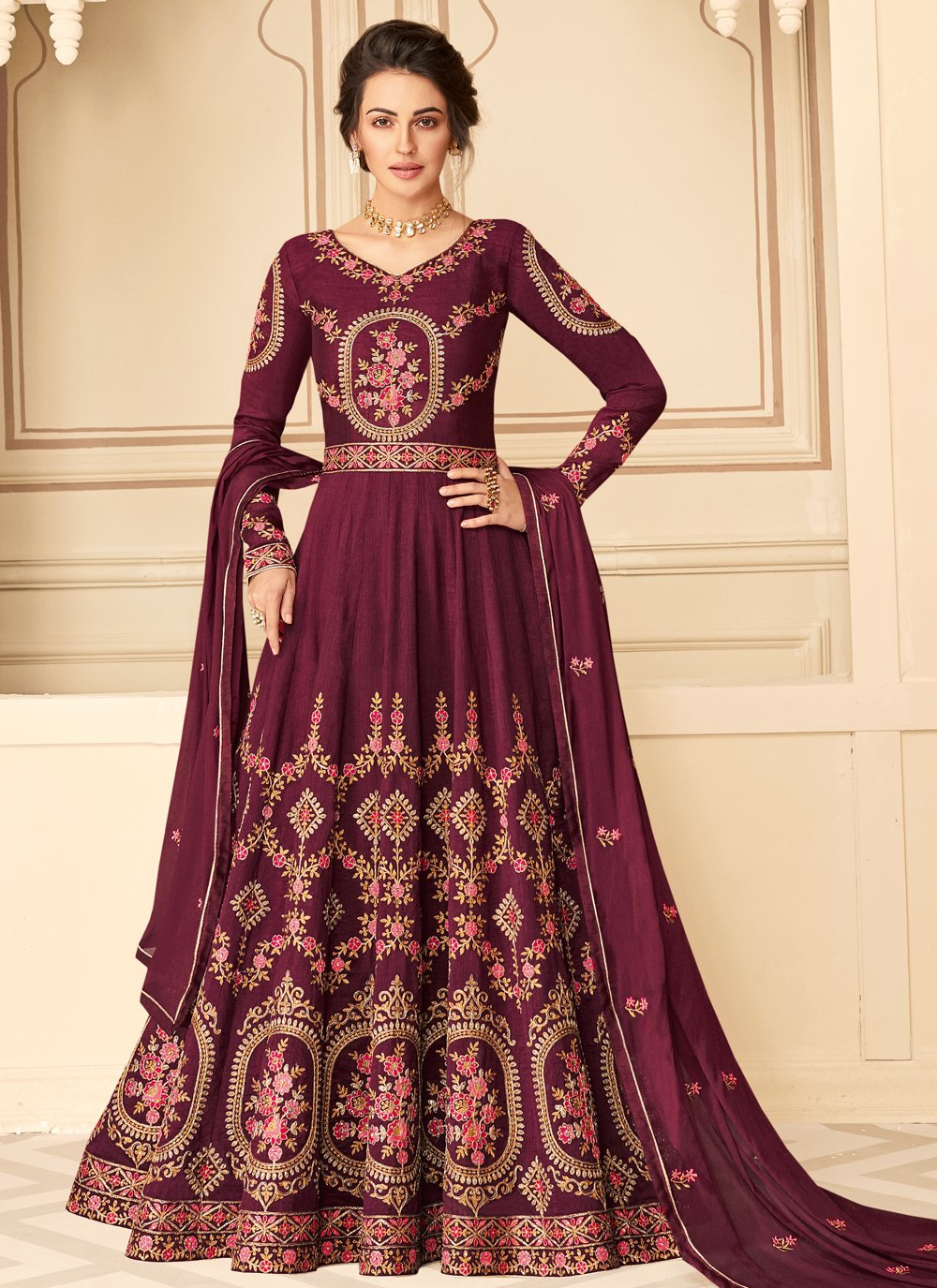 Magenta Embroidered Pure Silk Designer Floor Length Suit