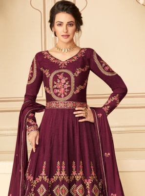 Magenta Embroidered Pure Silk Designer Floor Length Suit