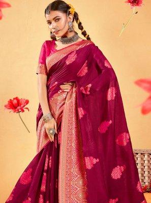 Magenta Fancy Fabric Festival Designer Traditional Saree