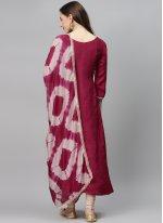 Magenta Fancy Fabric Designer Palazzo Salwar Suit