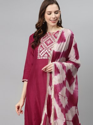 Magenta Fancy Fabric Designer Palazzo Salwar Suit