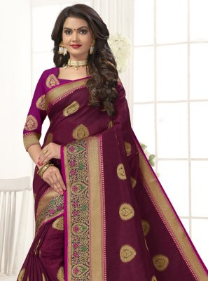Magenta Festival Cotton Silk Traditional Designer Saree