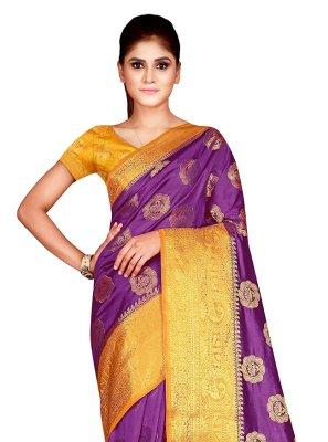 Magenta Nylon Designer Traditional Saree