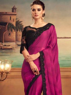 Magenta Silk Designer Saree