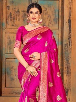 Magenta Weaving Banarasi Silk Classic Saree