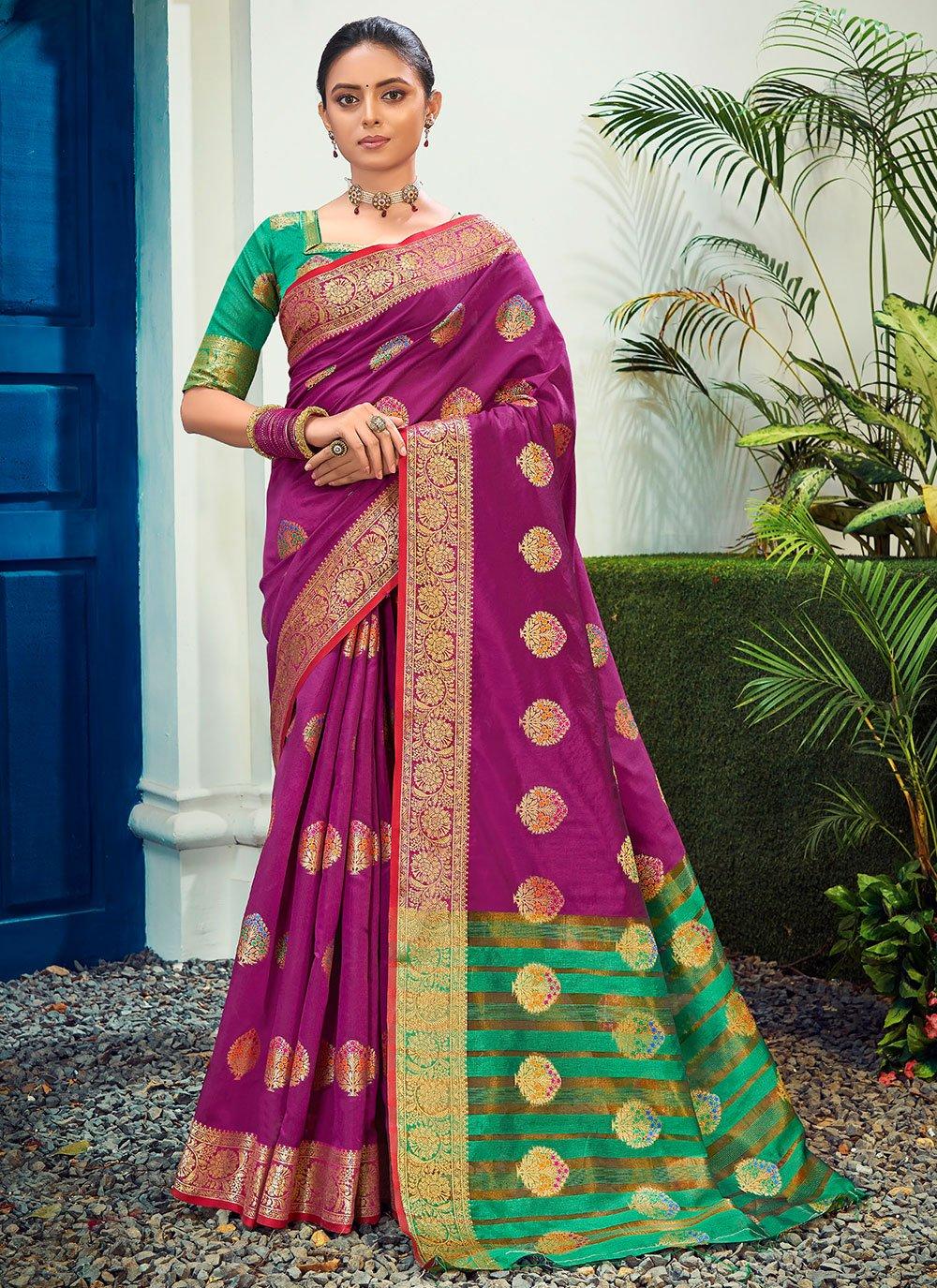 Magenta Woven Designer Traditional Saree