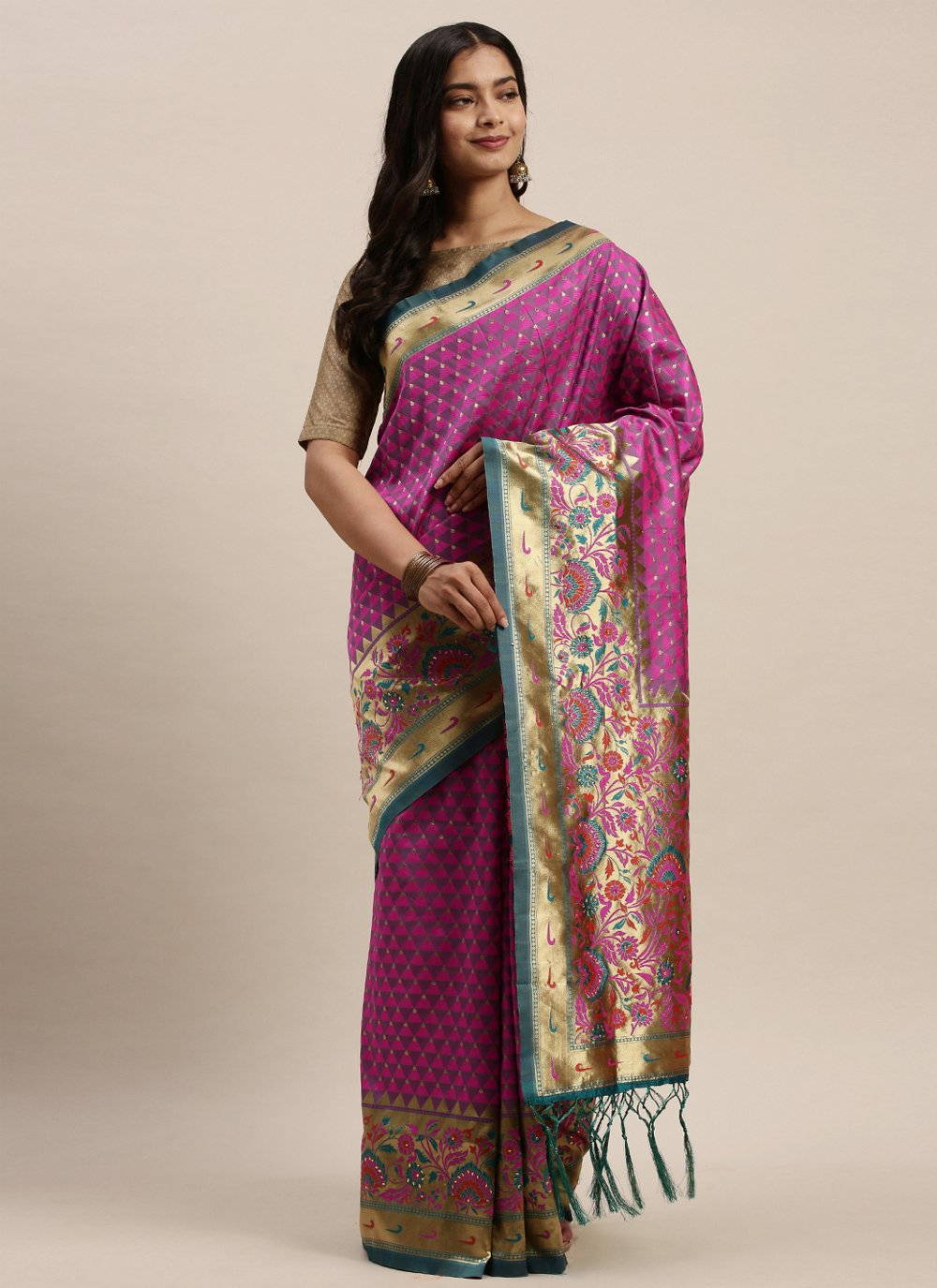 Magenta Woven Silk Designer Traditional Saree