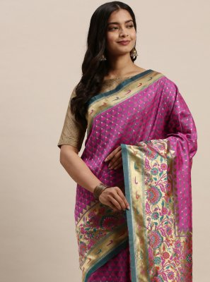 Magenta Woven Silk Designer Traditional Saree