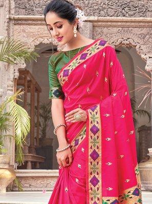 Magenta Woven Silk Traditional Saree