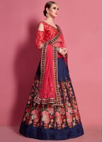 Malbari Silk  Lace Blue and Red A Line Lehenga Choli
