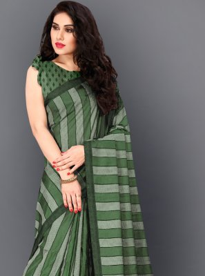 Manipuri Silk Thread Work Green Classic Designer Saree